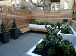 Garden Design: Using wooed brings a naturalness to what might otherwise be a harsh design